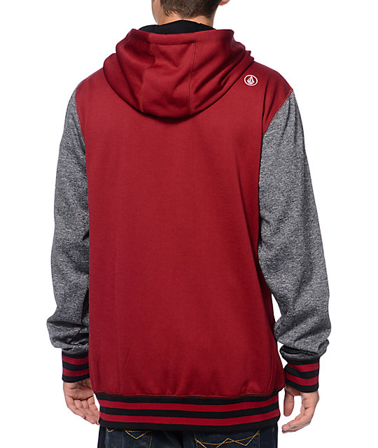 Volcom Whittier Burgundy & Grey Varsity Hydro Tech Fleece Jacket