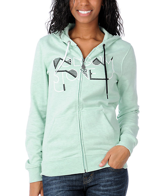 Volcom Who Bad Green Zip Up Hoodie