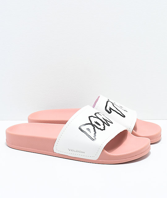Volcom Womens Don't Trip Mellow Rose & White Slide Sandals