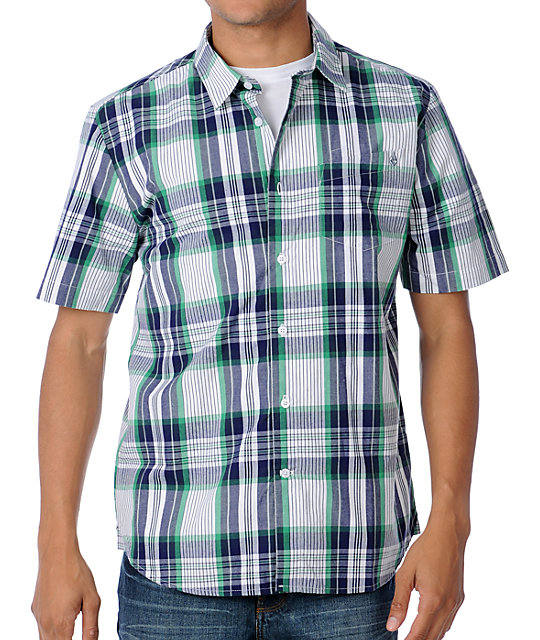 Volcom X-Factor White Plaid Woven Short Sleeve Shirt
