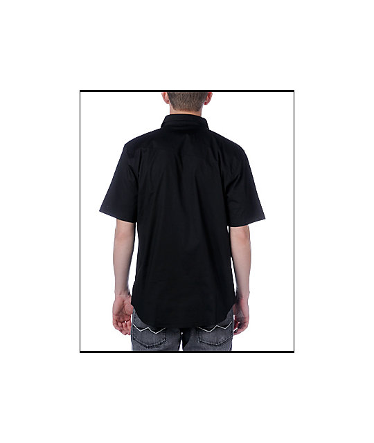 Volcom XYZ Black Solid Short Sleeve Woven Shirt