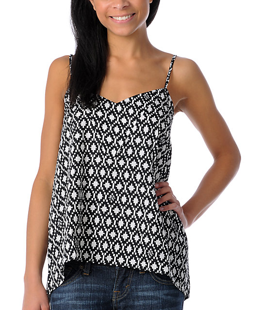 Volcom Young Hearts Black & White Camisole Top