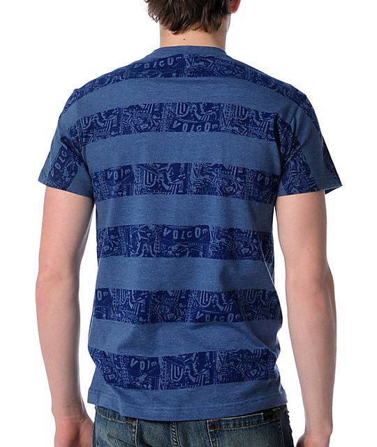 Volcom Zombie Stripe Blue T-Shirt