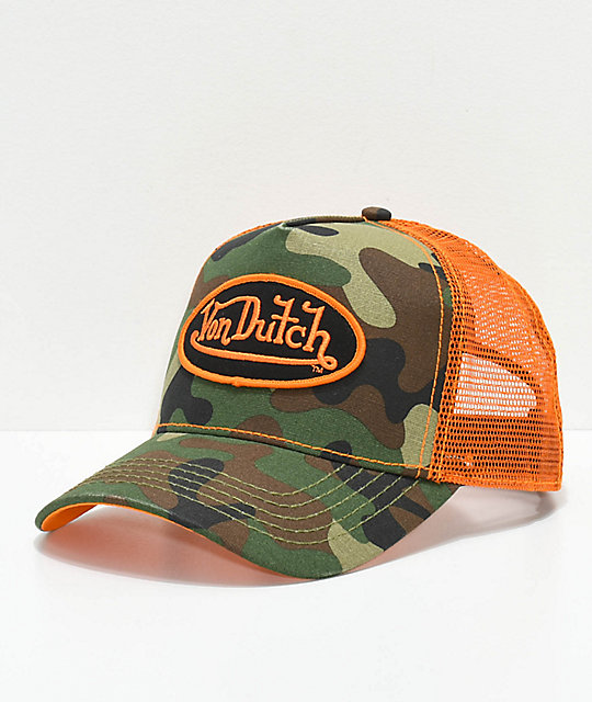 Von Dutch Army Camo   Orange Trucker Hat  2c9c8e71434d