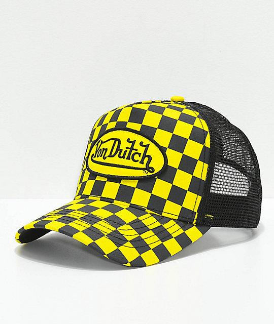 Von Dutch Checkered Black & Yellow Trucker Hat