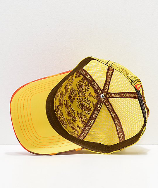 Von Dutch Orange Camo & Yellow Trucker Hat