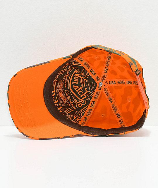 11e10f9a5ed48 ... Von Dutch Orange Camo Snapback Hat