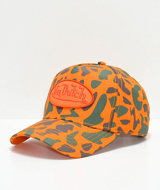 2b04aa26c7a8d Von Dutch Orange Camo Snapback Hat