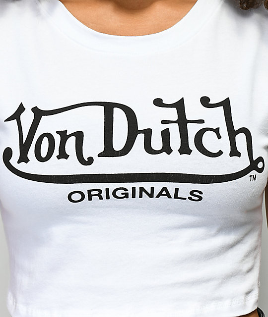 Von Dutch Original Logo White Crop T-Shirt