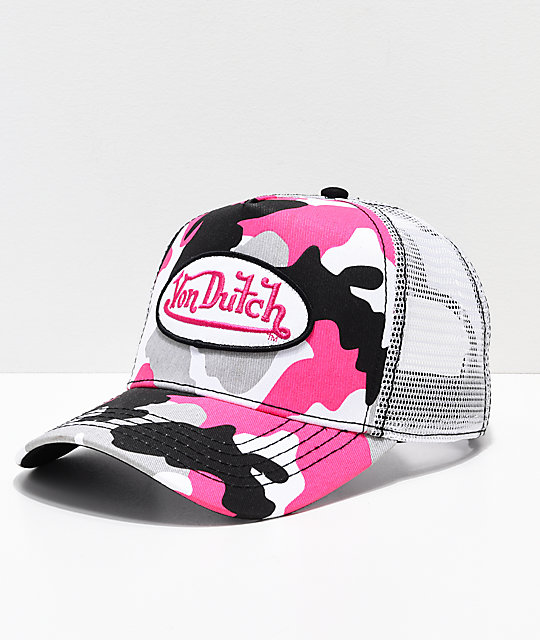 Von Dutch Pink Camo & White Trucker Hat