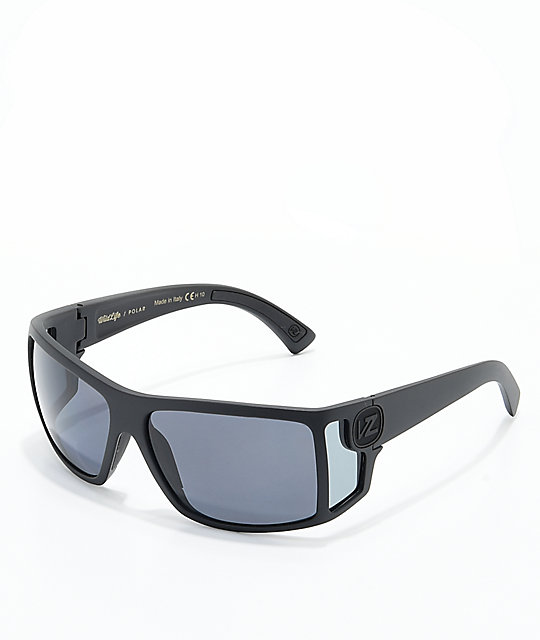 Von Zipper Checko Polarized Black Satin & Grey Sunglasses