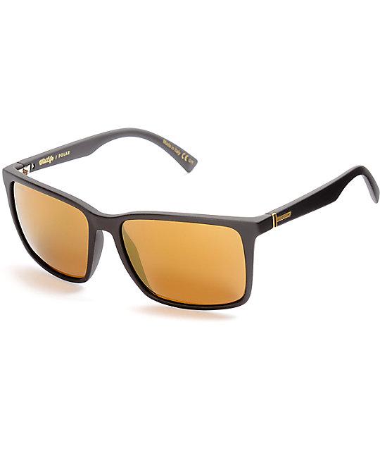 86a2eaa6c3 Von Zipper Lesmore Black Satin   Gold Polarized Sunglasses