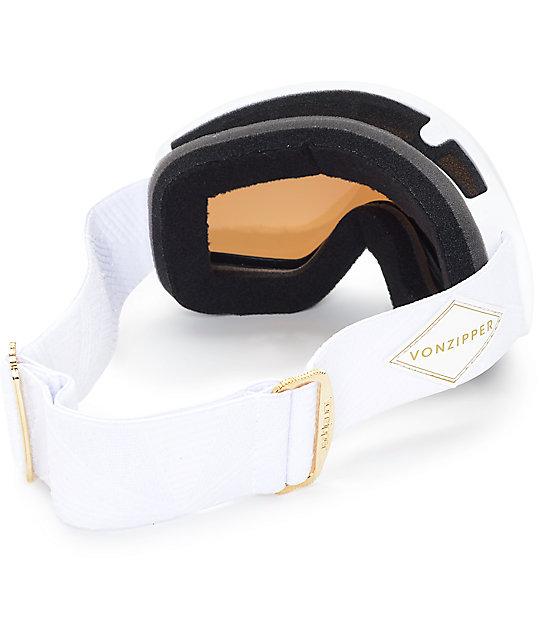 ab909437a4a ... Von Zipper Skylab White Gloss   Gold Chrome Snowboard Goggles ...