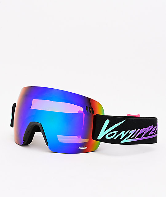 VonZipper Alt XM Neon Miami Black Satin & Wildlife Quasar Chrome Snowboard Goggles