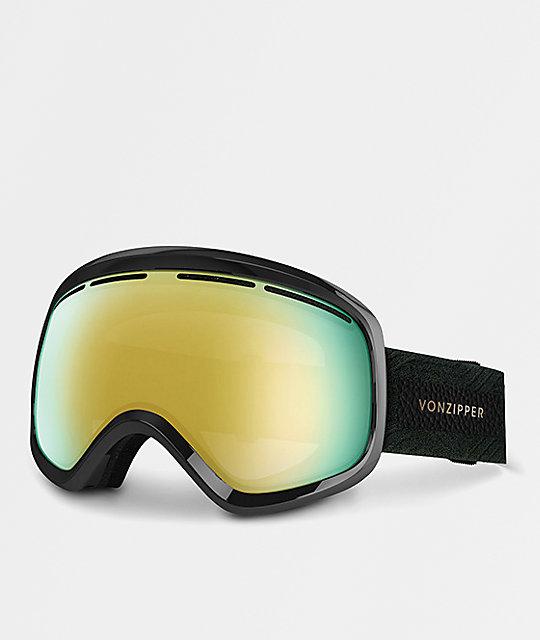 04ce038c768 VonZipper Skylab Black Satin Gold Chrome Snowboard Goggles