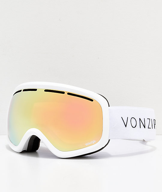 VonZipper Skylab White Gloss Gold Chrome Snowboard Goggles