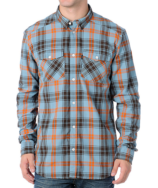 WESC Erwin Blue Plaid Long Sleeve Woven Shirt