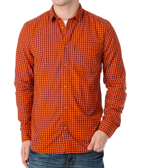 WESC Jerome Orange Long Sleeve Woven Shirt