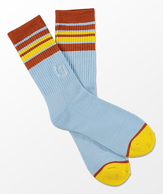 WKND Light Blue Striped Crew Socks