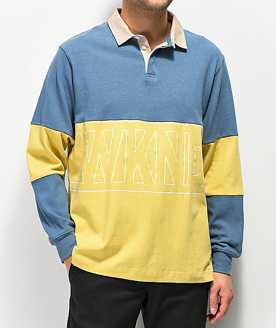 WKND Navy & Yellow Long Sleeve Polo Shirt