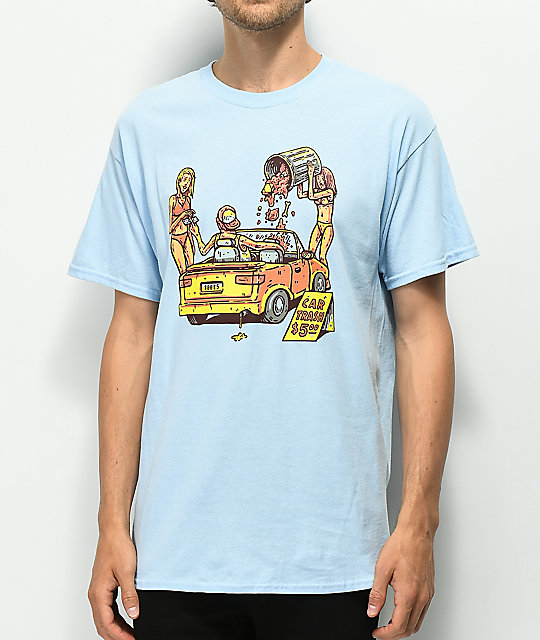 Washbeast Car Trash Light Blue T-Shirt