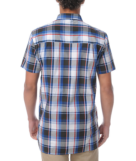 WeSC Flynn Red, White & Blue Plaid Button Up Shirt