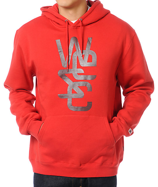 WeSC Overlay Red Pullover Hoodie