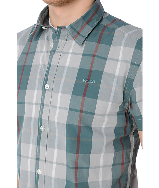 WeSC Sergio Green & Grey Plaid Button Up Shirt