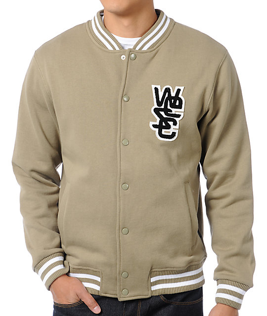WeSC Warren Beige Fleece Varsity Jacket