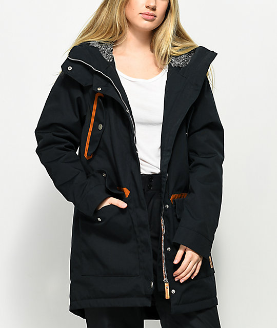 Wear Colour Range Black Parka Snowboard Jacket