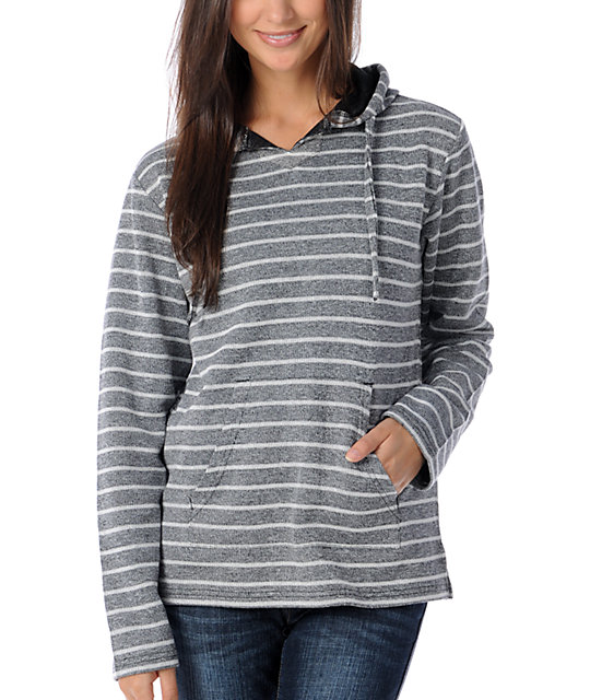 Wear Wash Repeat Heather Black & White Stripe Poncho