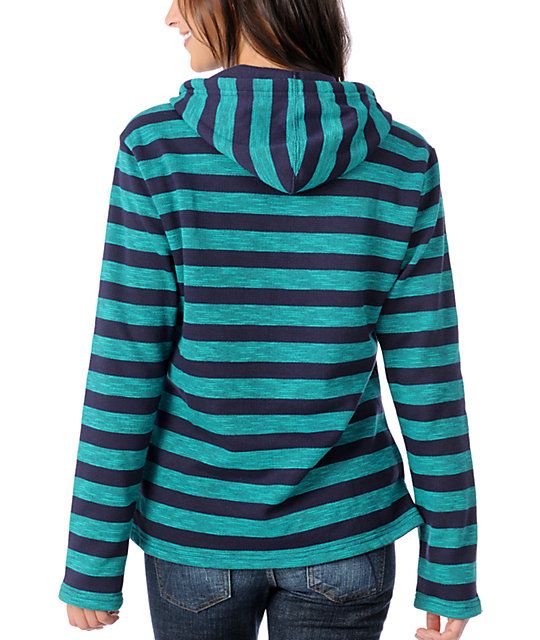 Wear Wash Repeat Navy & Teal Stripe Poncho