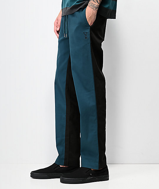 Welcome Dark Wave Teal & Black Elastic Waist Pants