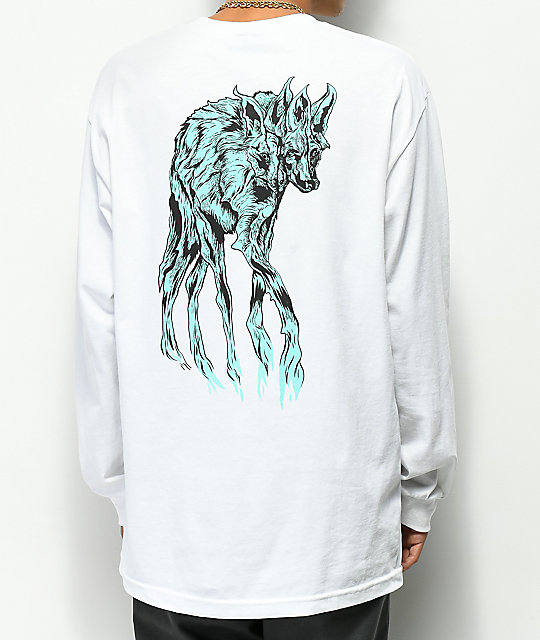 Welcome Maned Woof White & Teal Long Sleeve T-Shirt