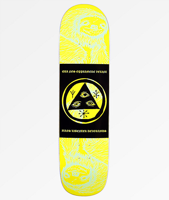 "Welcome Mantra Sloth On Bunyip 8.0"" Lime Skateboard Deck"