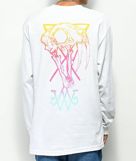 f095c2ef67a Welcome Saberskull White   Rainbow Long Sleeve T-Shirt