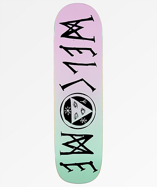 "Welcome Scrawlisman On Big Bunyip 8.5"" tabla de skate en verde azulado y lavanda"
