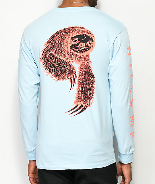 Welcome Sloth Light Blue Long Sleeve T-Shirt