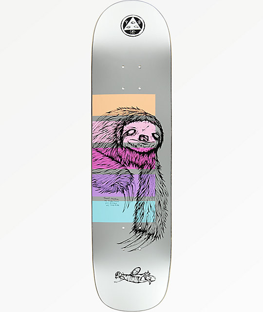 "Welcome Sloth On Bunyip 8.0"" Metallic Skateboard Deck"