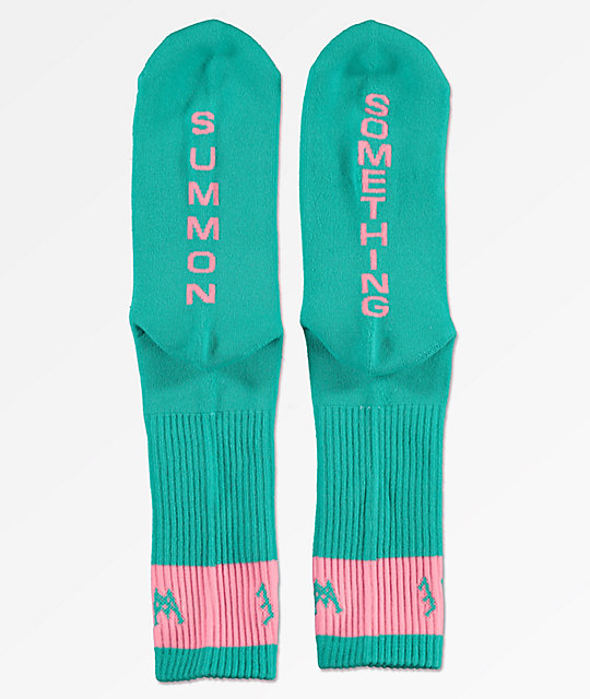 Welcome Summon Teal & Pink Crew Socks
