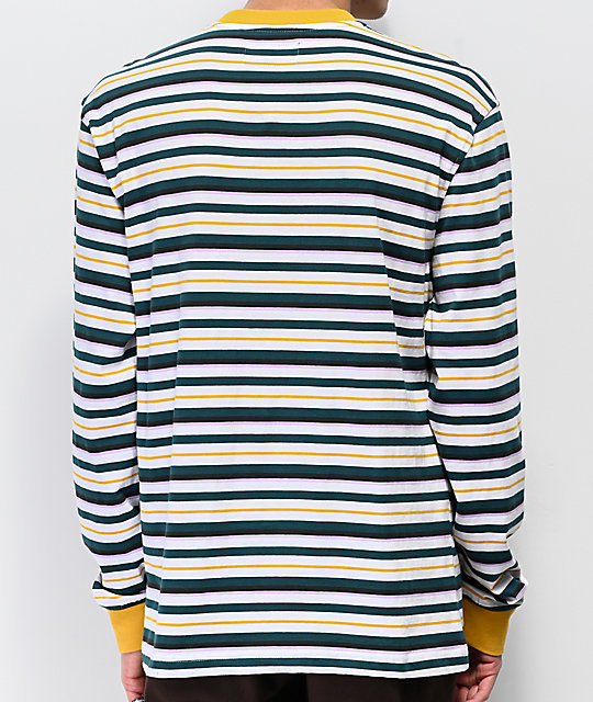 Welcome Surf Stripe Gold & Teal Long Sleeve T-Shirt