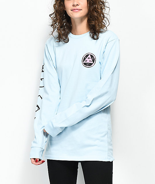 Welcome Tali-Scrawl Light Blue Long Sleeve T-Shirt