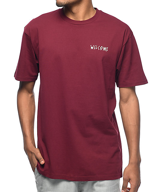Welcome Talisman camiseta en blanco y color vino