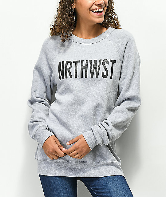 Wish You Were Northwest NRTHWST sudadera gris con cuello redondo