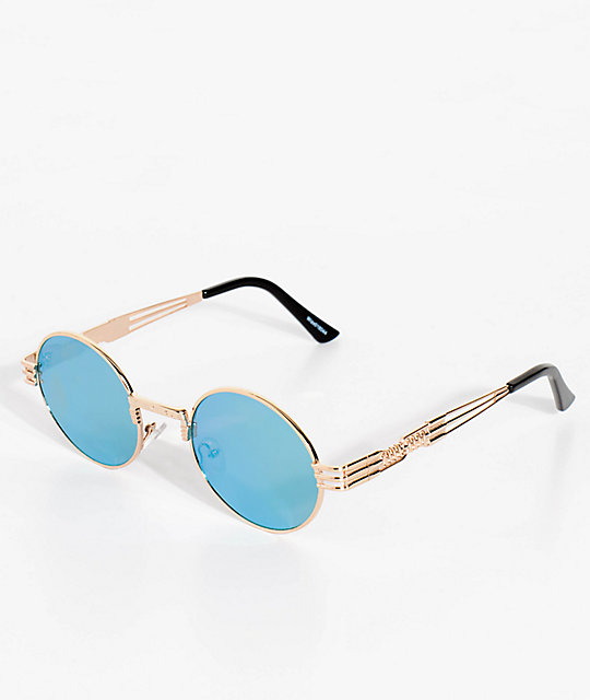 Wiz Round Gold, Green & Yellow Mirrored Sunglasses
