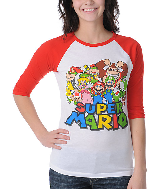 Word Of Mouth Super Mario White & Red Baseball Tee