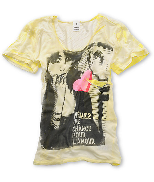 Word of Mouth Girl Face Yellow Top