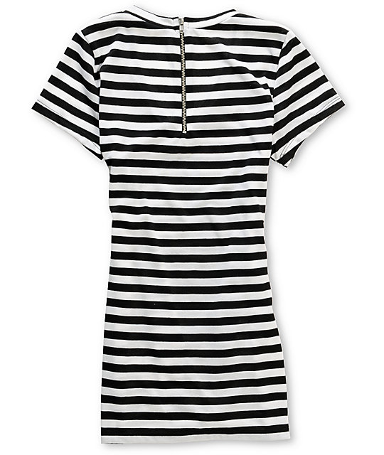 Workshop Black & White Stripe Zipper-Back T-Shirt