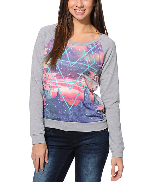 Workshop Geo Aztec Cosmo Grey Sublimated Crew Neck Sweatshirt