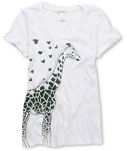 Workshop Giraffe Hearts Scoop Neck White T-Shirt